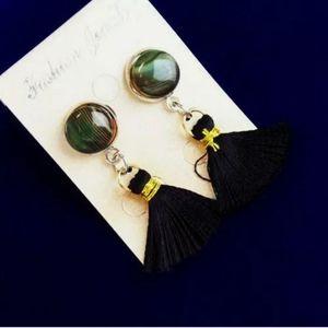 Wrapped Green Stripes Onyx Agate Tassel Earrings